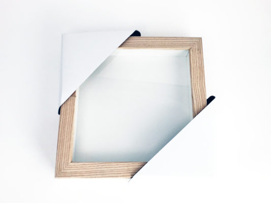 Birch square frame against a white background