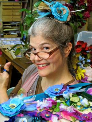 Gwendolyne making flower hair clips
