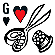 Gwendolyne Hats box of a thimble scissors a heart and the letter G