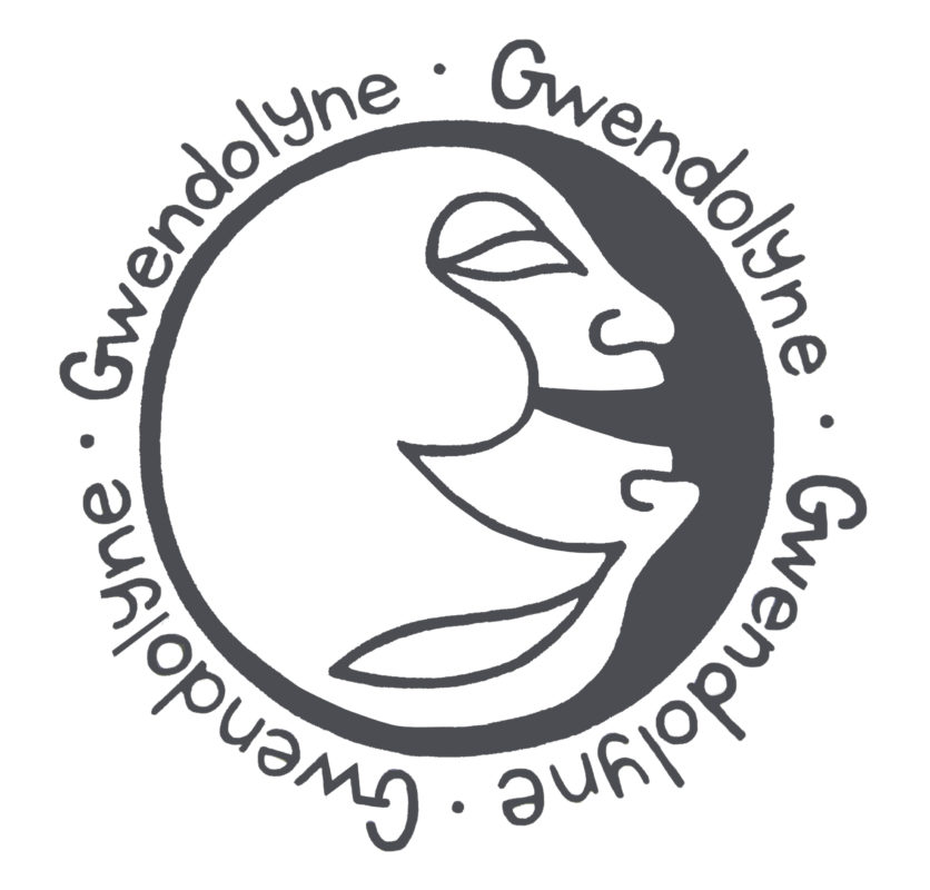 black and white line art of gwendolyne two face logo