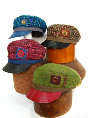 4 Abbey Road Caps in different colours red, blue, green and brown