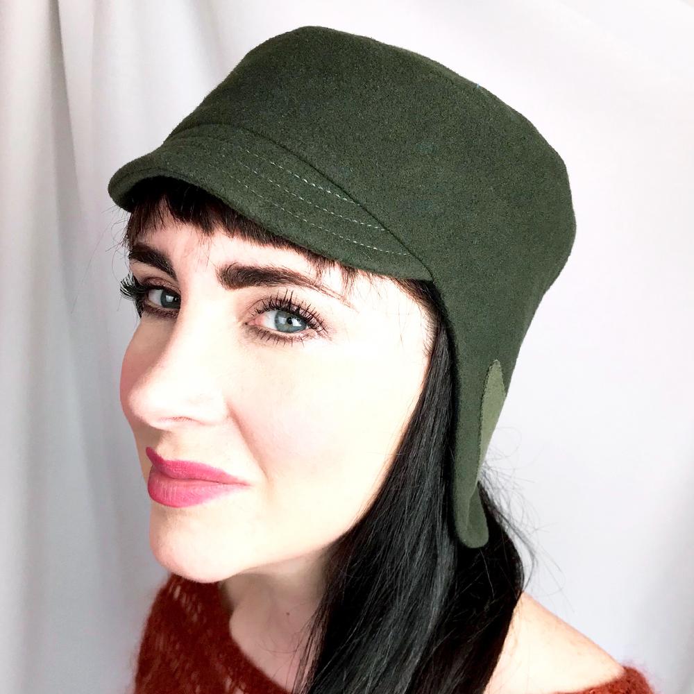 90c9a0bd2 Medium Olive Green Earflap Wool Hat