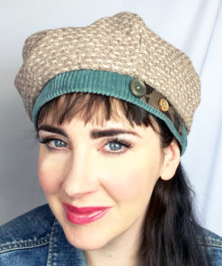 Woman wearing a Beige Bella Beret looking front