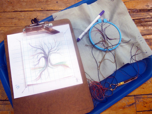 Tray with Tree artwork paper layout and linen canvas embroidery art in progress