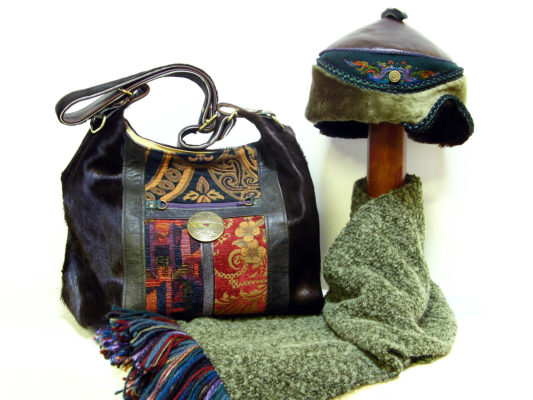 The Genghis Shoulder Bag Design and the Anoushka Hat design