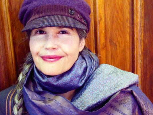 Gwendolyne wearing her Donavan wool cap design
