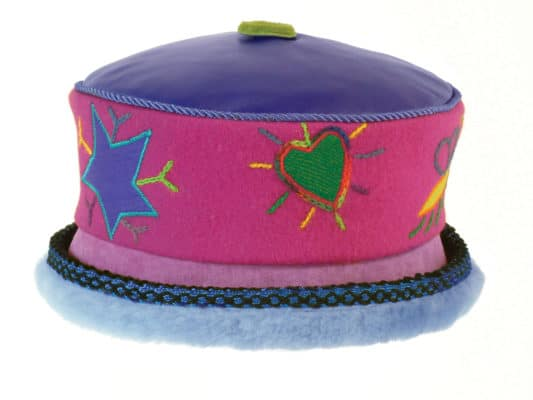 A fuchsia Rusalka Hat with a light blue coloured fur rim set against a white background
