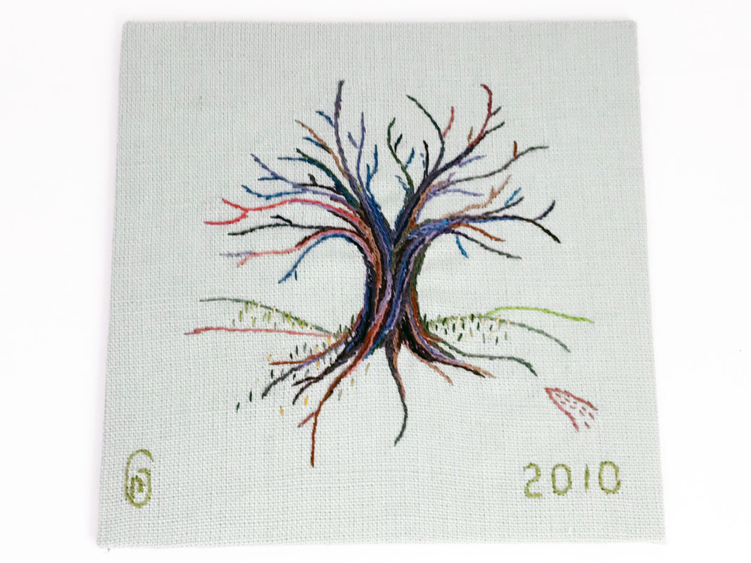hand embroidered Spring budding tree