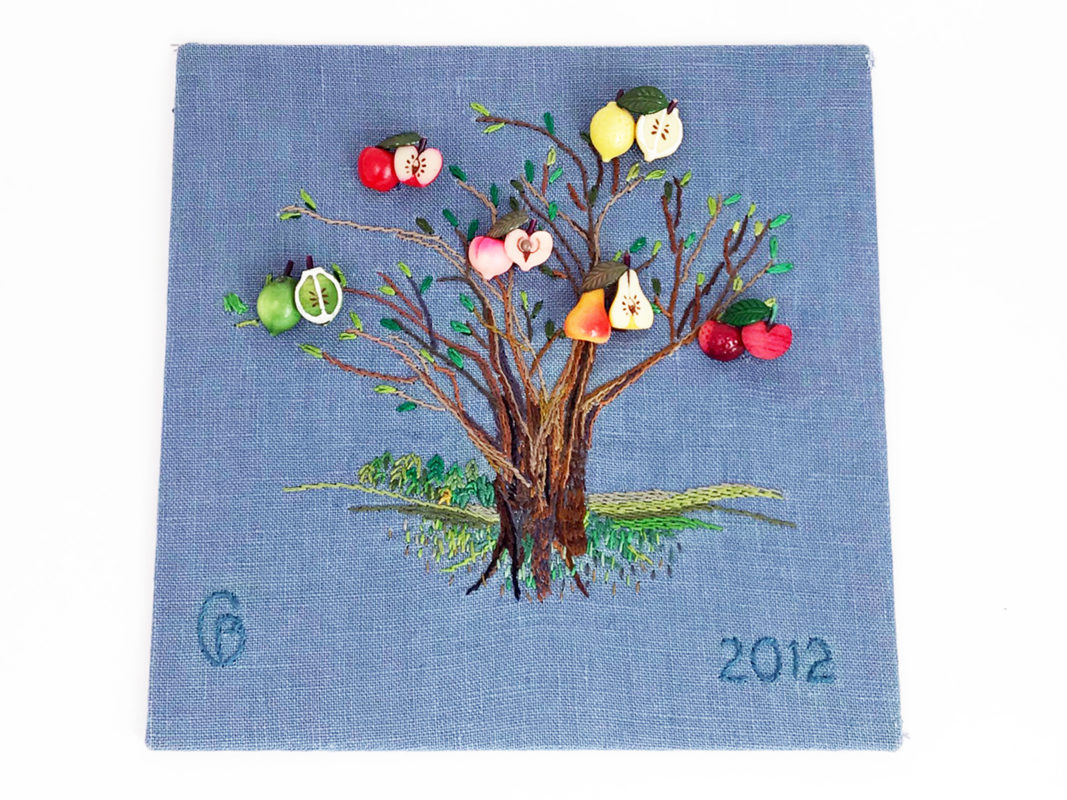 hand embroidered summer tree with fruit