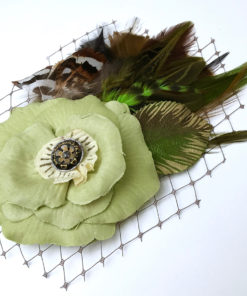 Close up of Chartreuse green Fascinator on white background