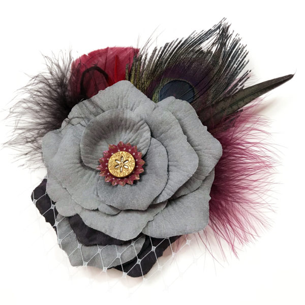 Grey black and wine Rose hair-clip fascinator on white background