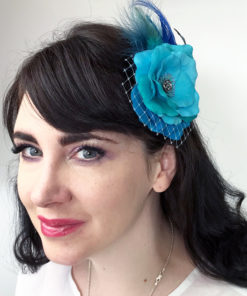 Woman wearing a turquoise rose hair clip fascinator in her hair