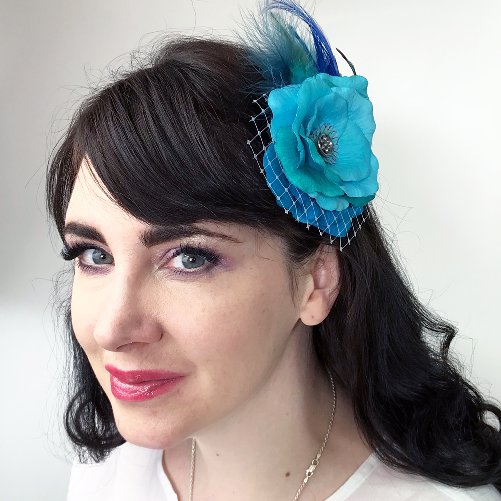 Turquoise Blue Rose Flower Feather Fascinator Hair Clip Accessory ... 60340689535