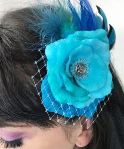 Close up of Turquoise Blue Rose Fascinator on hair