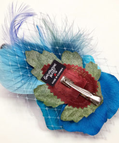 Back side close up of Turquoise Blue Rose Fascinator on white background