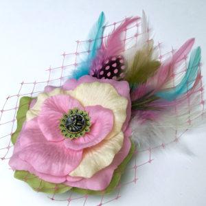Unique Hand Made Pastel Pink Flower Fascinator Gwendolyne Hats