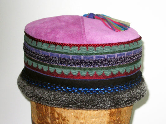 One Tibetan Hat Design in colours pink mauve and mint green