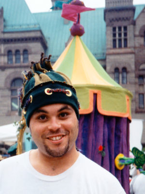 Bare Naked Ladies band member Tyler Stewartl wearing Gwendolyne Hats Twirl String Toque