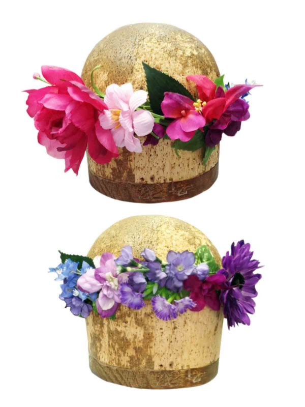2 head blocks with unique floral headbands on them
