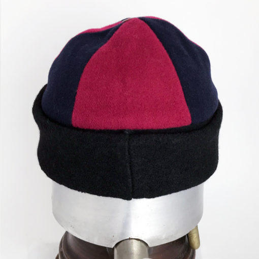 Back view of a red and black Bean Toque against a white background