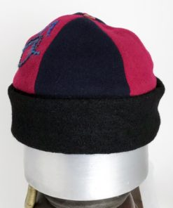 Front view of a red and black Bean Toque against a white background