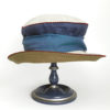Front view of a denim olive and natural 100% linen Zinnia Summer Hat against a white background