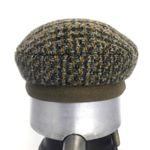 Back view of a olive green Abbey Road cap against a white background