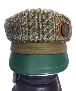 Front view of a olive green Abbey Road cap against a white background