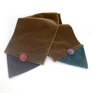 Front side of the the beige Velvet Triangle Scarf made from 100% cotton velvet against a white background