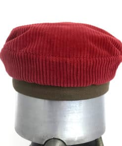 Back view of a red and brown Cordy cap against a white background
