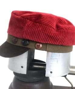 Side view of a red and brown Cordy cap showing the 3 button accents side band against a white background