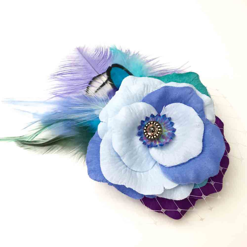 Blue  Feather Fascinator,Pheasant Flower Feather Clip,Boho Feather Accessory,Striking Feather Flower Accessory,Feather Flower Hair Clip