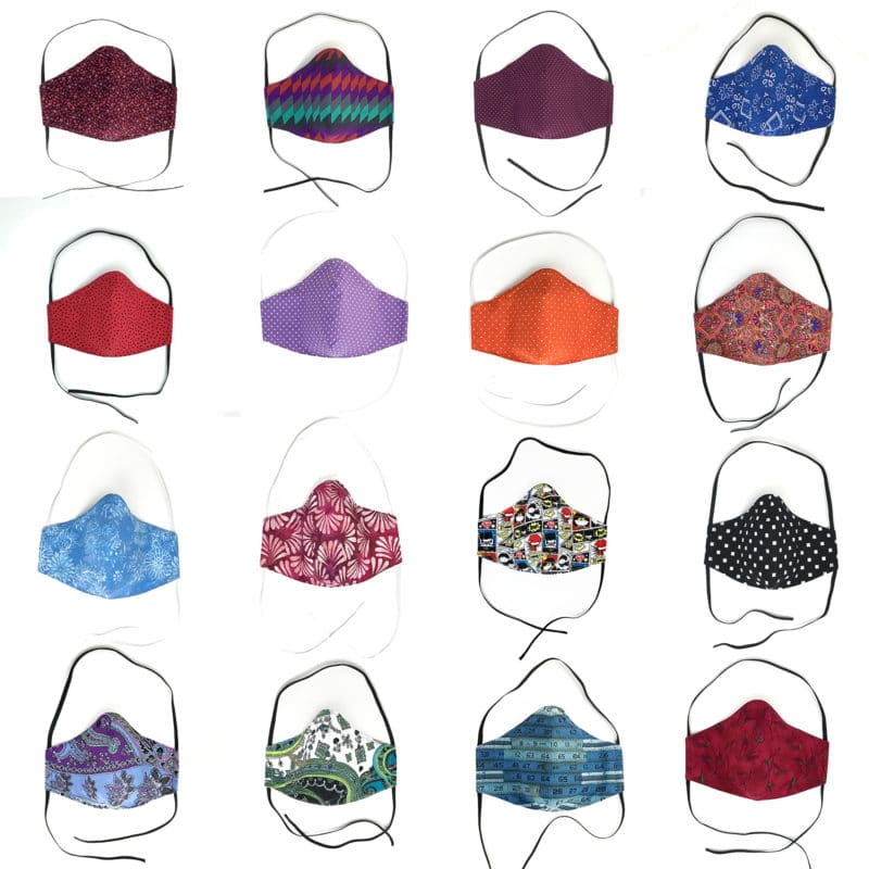 16 face mask in different fabrics