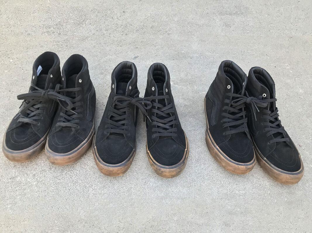 3 pairs of Aged Vans