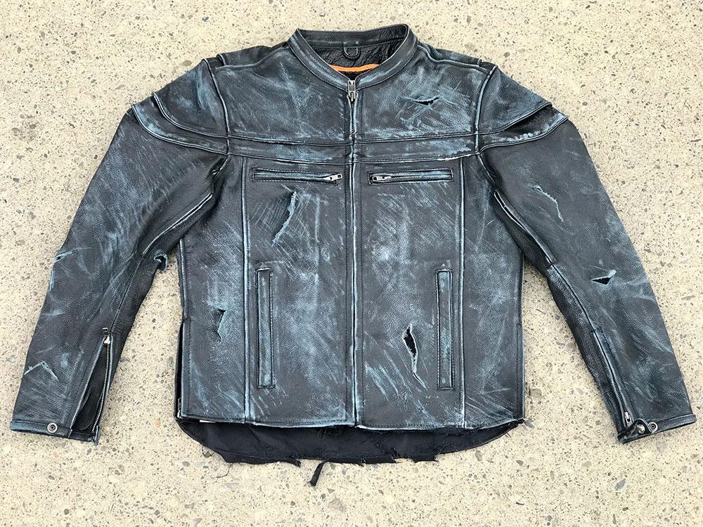 Motorcycle jacket broken down