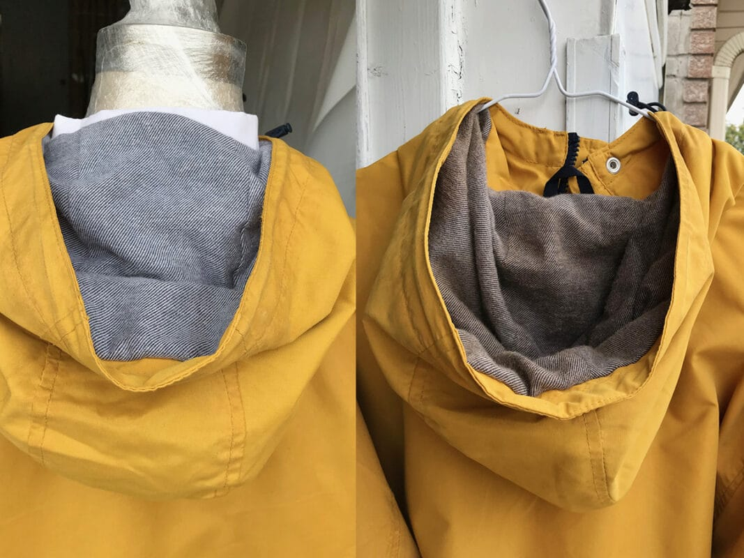 Yellow Jacket Hood before and after getting aged